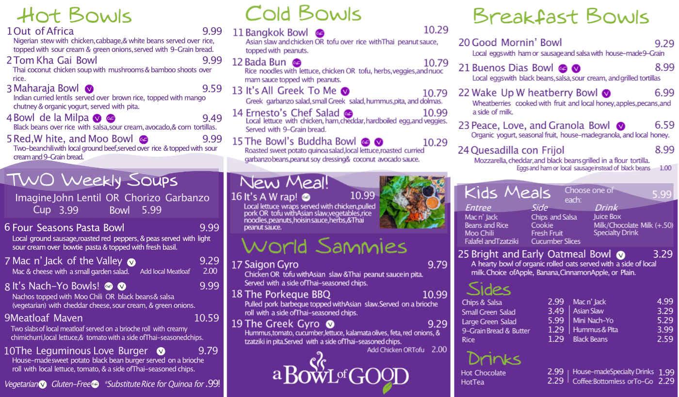 A Bowl of Good menu July 2020